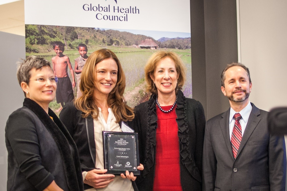 GBCHealth Honors Cycle Technologies at 2014 Business Action on Health Awards: Dr. Christine Sow (Global Health Council), Leslie Heyer (Cycle Technologies), Nancy Wildfeir-Field (GBCHealth), Gary Cohen (Becton, Dickinson & Co.)